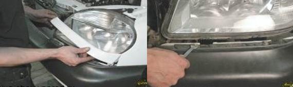 Демонтаж переднего бампера 2