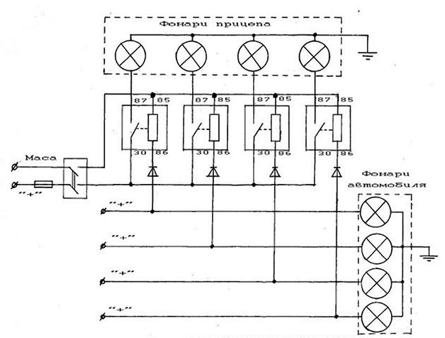 схема фонарей прицепа