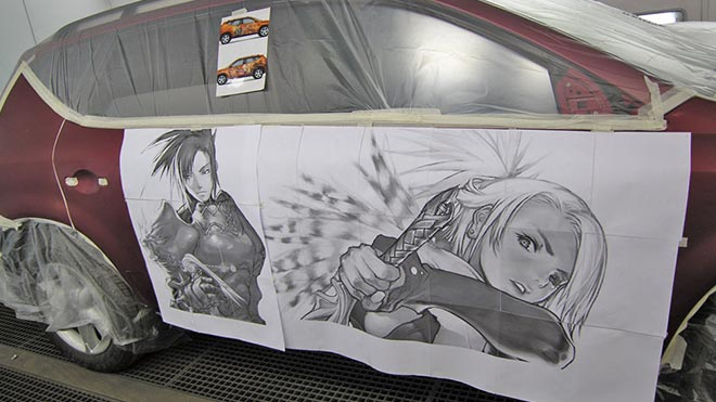 Эскиз рисунка наклеенный на кузов