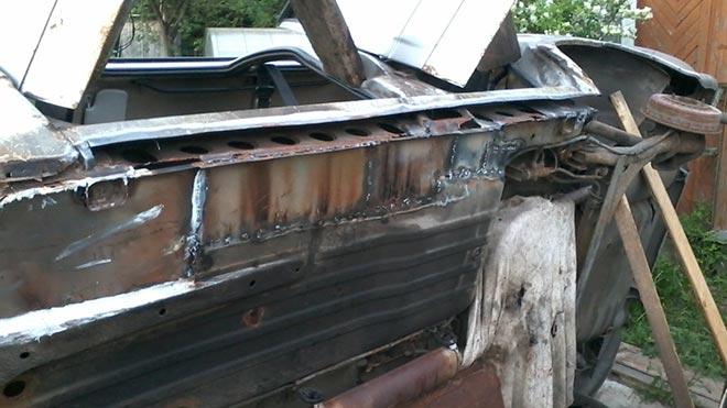 Заваренные части машины