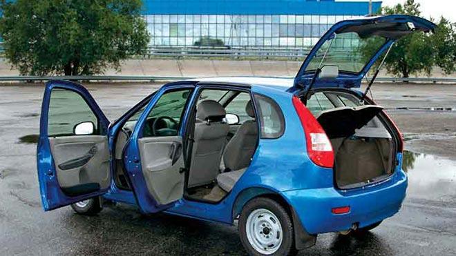 Синяя машина на площадке