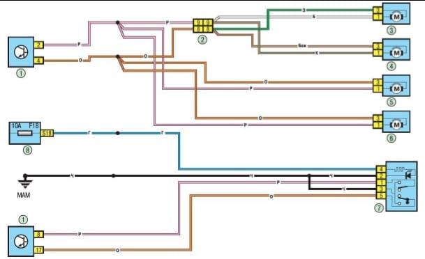 Схема ЦЗ и концевиков дверей